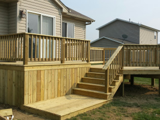 Side view of newly renovated decks in Clio, MI