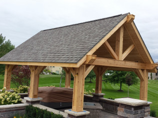 front side of the newly remodeled gazebo and decks in Clio, MI