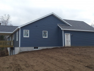 Side yard of a new home construction in Clio, MI