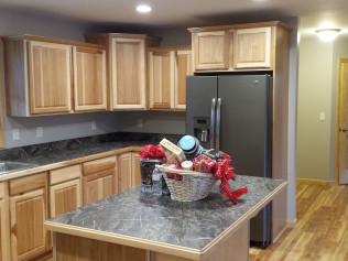 Side view of a newly remodeled kitchen in Clio, MI