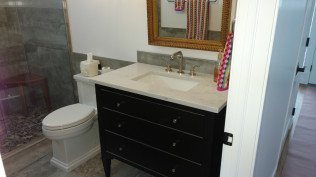 New sink in remodeled bathroom in Clio, MI
