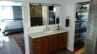 Newly installed wood cabinets with sunken in sink in Clio, MI